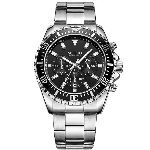 Megir - Reloj de Pulsera para Hombre, Correa de Acero Inoxidable con cronógrafo, Cuarzo, analógico, Negro, Luminoso, Resistente al Agua, 30 m: Amazon.es: ...