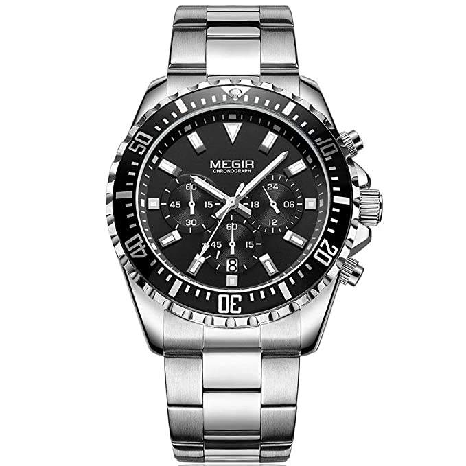 Amazon.com: MEGIR Mens Multifunction Chronograph Analog Military Quartz Watch - Splash Rain Resistant for Work Business Sports: Watches