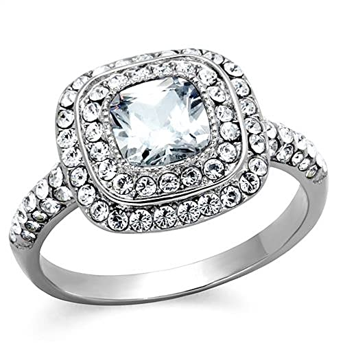 Vip Jewelry Co 2 55 Ct Halo Cushion Cut Cz Stainless Steel Engagement Ring Band Women S Size 5 10