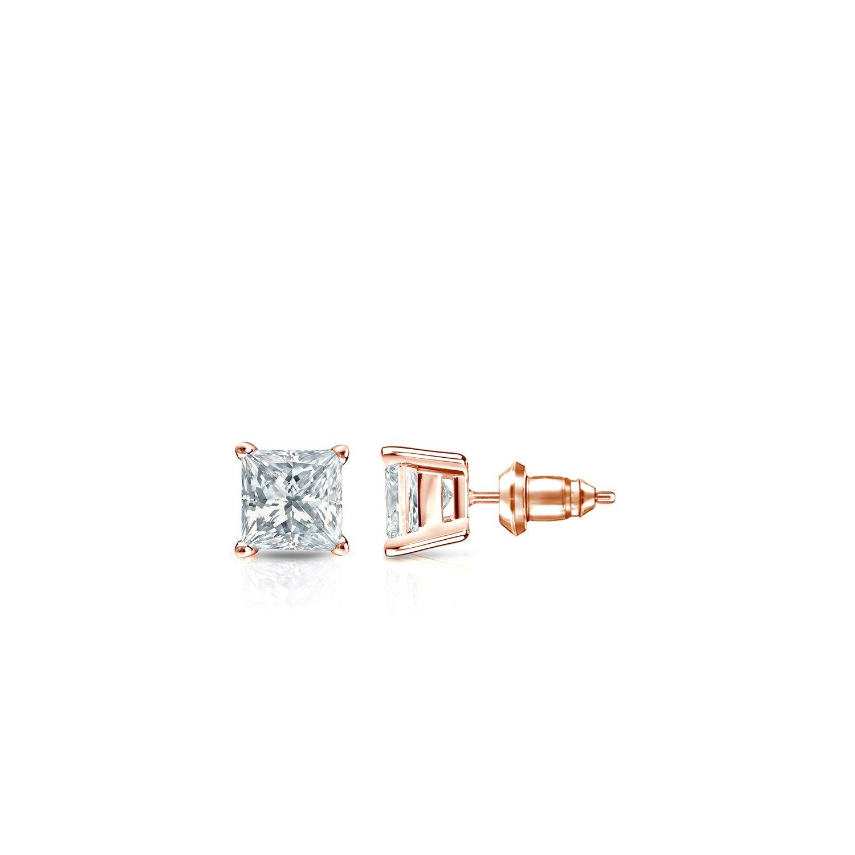 cd9f9608e Amazon.com: 14k Rose Gold 4-Prong Basket Princess Diamond Stud Earrings  (1/4ct, O.White, I2-I3): Jewelry