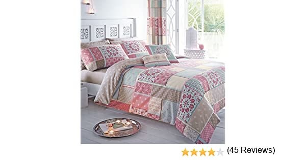 Just Contempo Patchwork Marroquí - Juego con Funda nórdica y Fundas de Almohada, Rosa, tamaño: Single: Amazon.es: Hogar