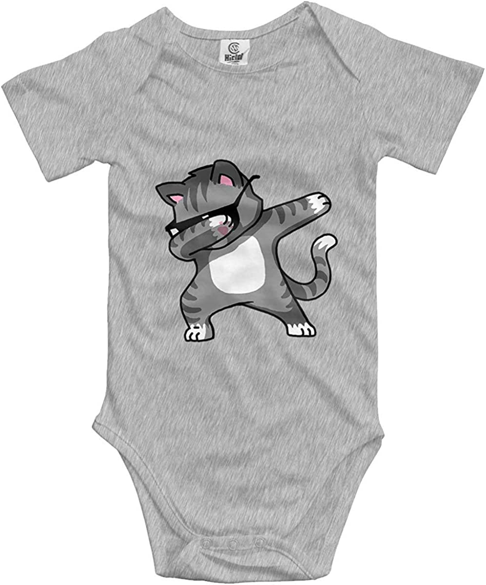 Baby Bodysuit Dabbing Cat Cool Funny Short Sleeves Triangle Romper Cute Soft Bodysuit Outfits Infant Toddler Clothes 5 Size