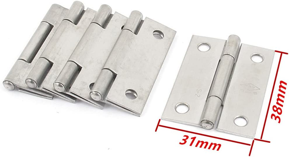 1 10 Pcs XJS Cabinet Stainless Steel Screw Mounted Door Hinges with mounting Screws