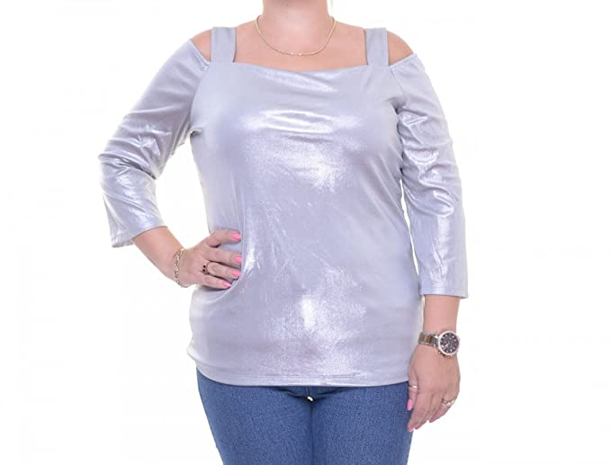 f9ced78a4e0 Amazon.com: INC Womens Stretch Metallic Casual Top Silver M: Clothing