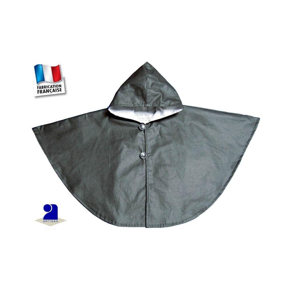 Poussin bleu - Cape de pluie doublée coton, capuche Made In France Taille - 12 à 24 mois, Couleur - Gris