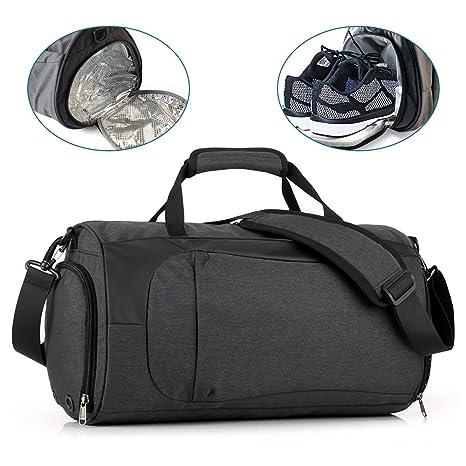 KONKY Bolsa de Deporte Impermeable Hombres y Mujeres, Bolsa de Viaje Bolsa de Gimnasio con Compartimento para Zapatos y Ropa Mojada, Weekend Bag ...