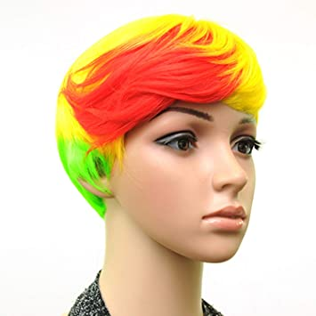 Synthetic Muti Color Bangs High Temperature Fiber Woman Short Hair Wig 18 Colors,red blonde