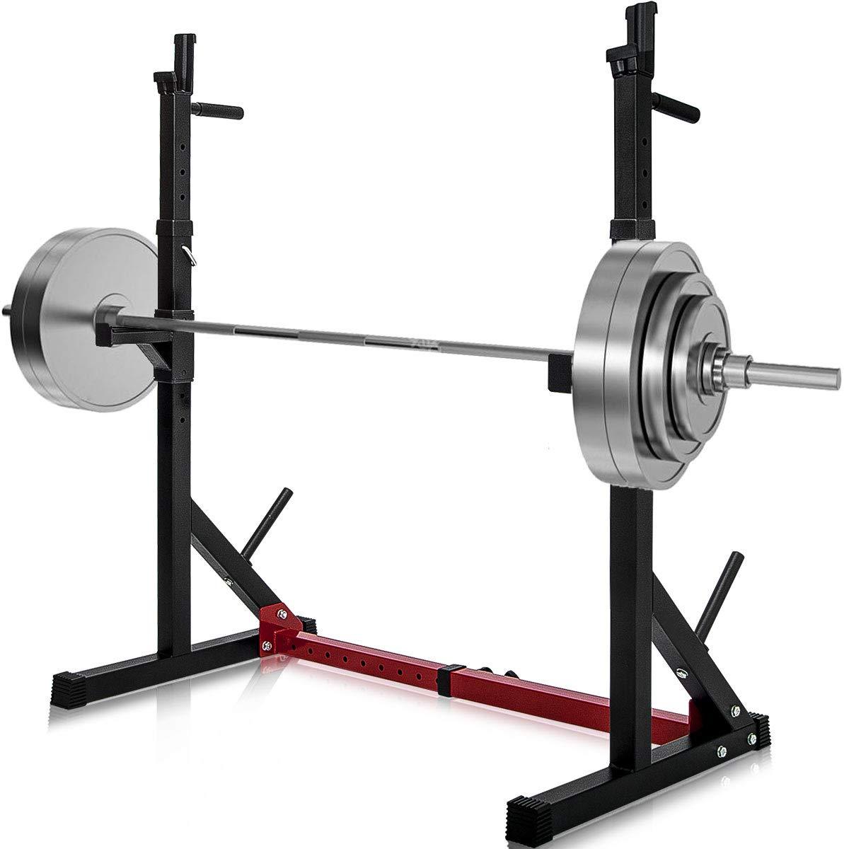 Amazon.com : merax barbell rack 550lbs max load adjustable squat