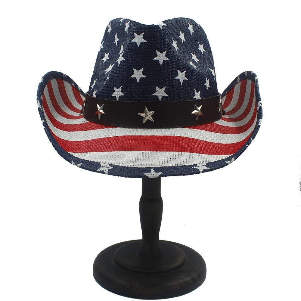 Home Handwork Summer Straw Women Men Hollow Western Cowboy Hat with American Flag Warm Soft and Comfortable Hats