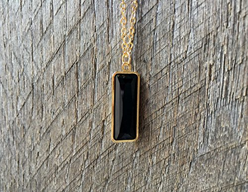 Swarovski Crystal Jet Black Onyx Princess Baguette Pendent Necklace