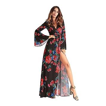 Vestido de mujer Vestido de línea de una línea de Split Print Maxi V cuello de