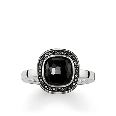 0aac80cc3c87 Thomas Sabo Women Solitaire Ring Black Cosmo 925 Sterling Silver ...