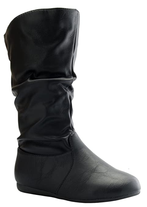 8ff0fa04410e8 Girl s Mid-Calf Solid Color Flat Heel Slouch Boots