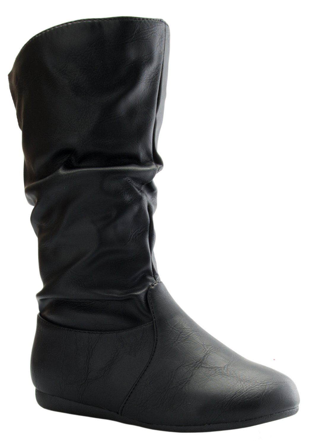 Girl's Mid-Calf Solid Color Flat Heel Slouch Boots,Black Pu,LittleKid 13M