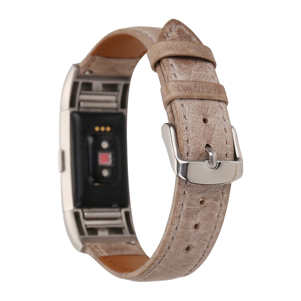 Juzzhou Watch Bands For Fitbit Charge 2 For Woman Lady Girls Man Boy Watchband Wriststrap Leather Bracelet Guard Replacement Wrist Strap Band Sport Wristband With Metal Adjustable Clasp Brown