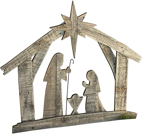 Kalalou Recycled Wood Nativity Wall Art Plaque Birth of Christ