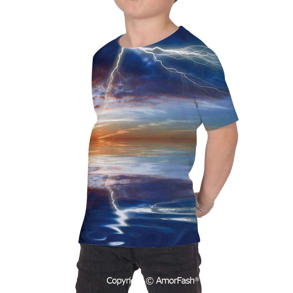 PUTIEN Lake House Decor Childrens Summer Casual T Shirt Dresses Short Sleeve,Lightning