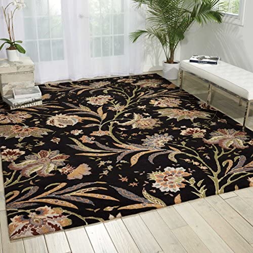Nourison Gatsby Black Rectangle Area Rug, 8-Feet by 10-Feet 6-Inches 8 x 10 6