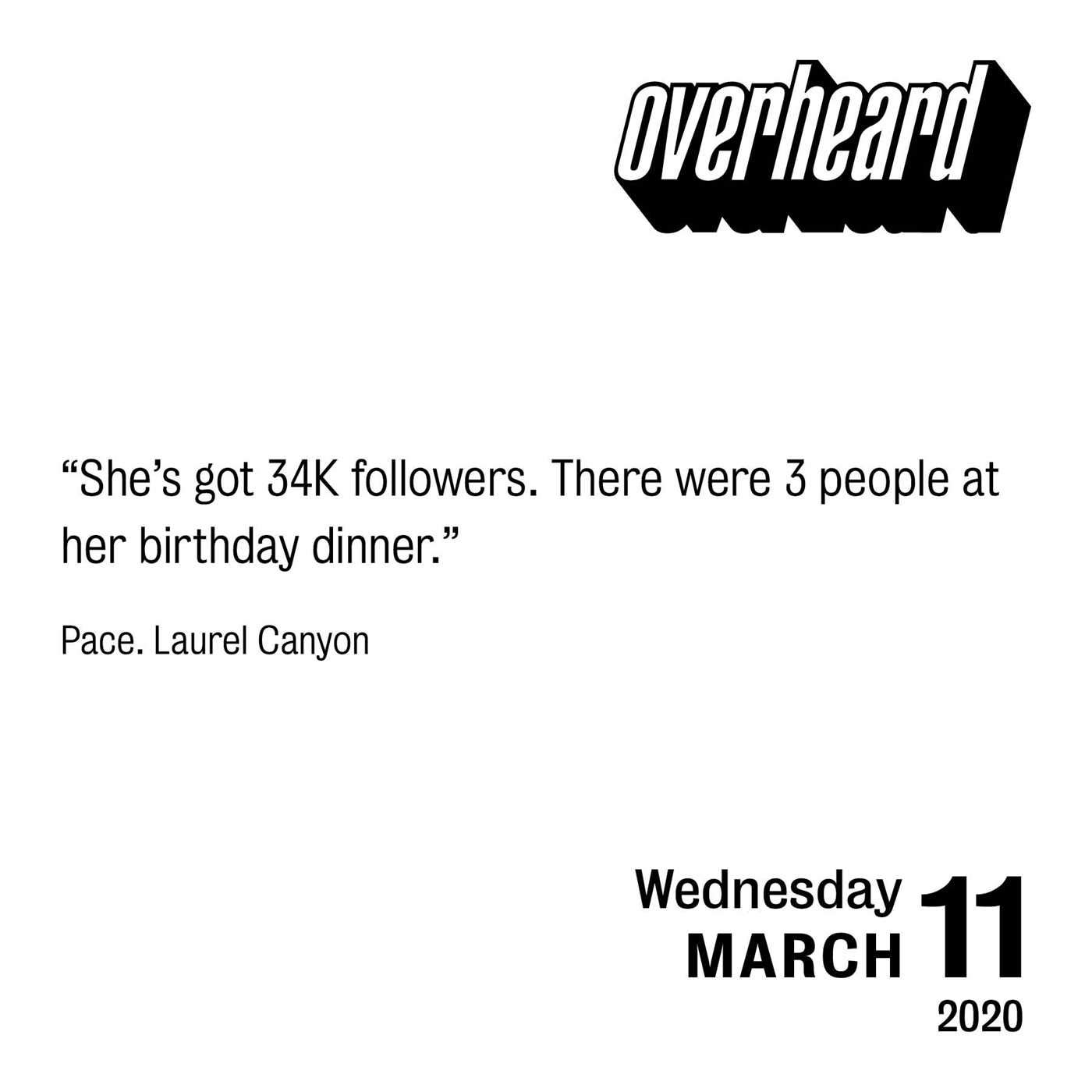 Conversations about culture in LA and New York Overheard 2020 Day-to-Day Calendar