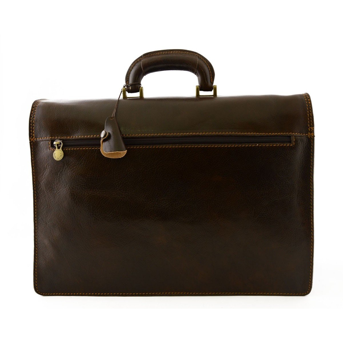 Genuine Leather Professional Briefcase 3 Compartments Color Dark Brown