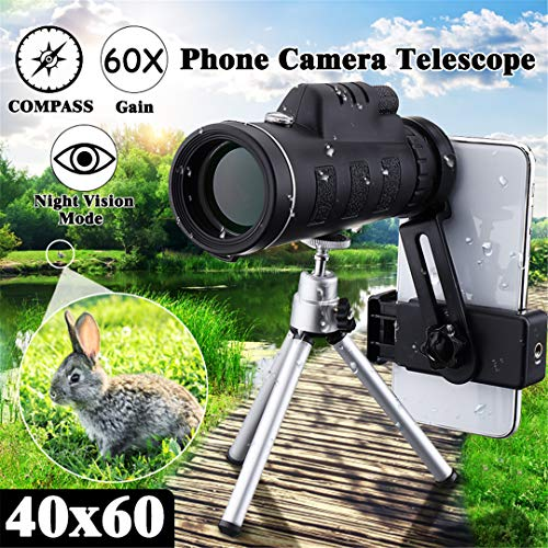 1Pcs 40X60 HD Monocular Telescope + Tripod + Clip for Outdoor Camping Hunting Mobile Phone Telescope Monocular Telescope