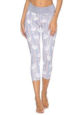834db69282cb57 Amazon.com: Mint Lilac Women's Printed Yoga Pants Workou Capri t Running  Leggings with Ruched Waistband: Clothing