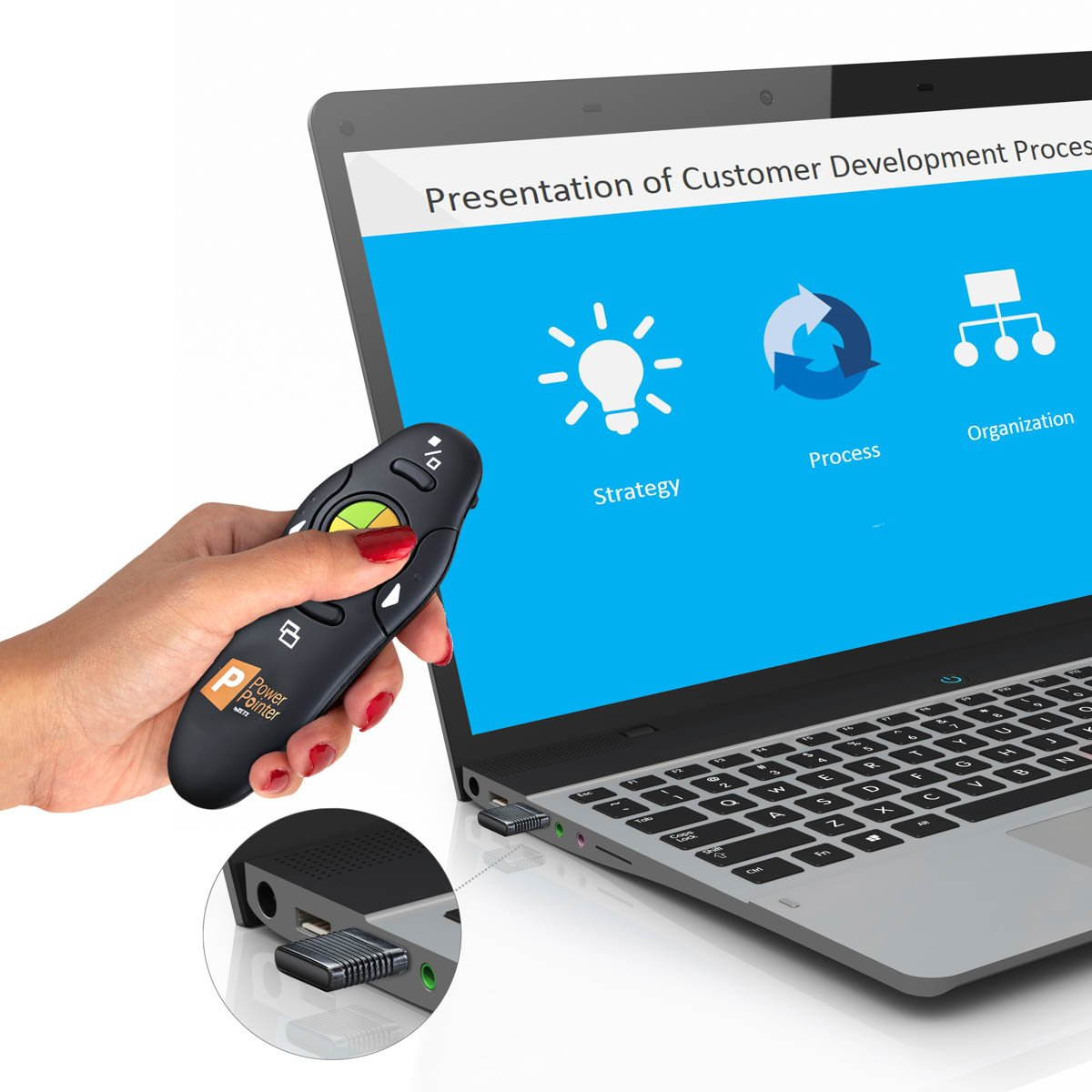 ZETZ Wireless Presenter Remote Control With USB & Laser Pointer | Powerful & Ergonomic PPT Clicker Easy To Use | For Microsoft Power Point Presentations, Excel & Interaction With Crowd by Zetz (Image #4)