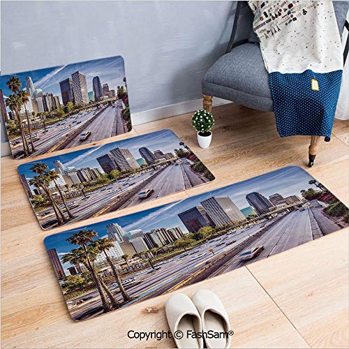 3 Piece Fashion Flannel Door Mat Carpet Downtown Cityscape of Los Angeles California USA Avenue Buildings Palms for Door Rugs Living Room(W15.7xL23.6 by W19.6xL31.5 by W19.6xL59)