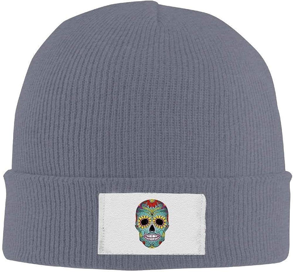 Men Sugar Skull Adjustable Beanie Winter Hiking