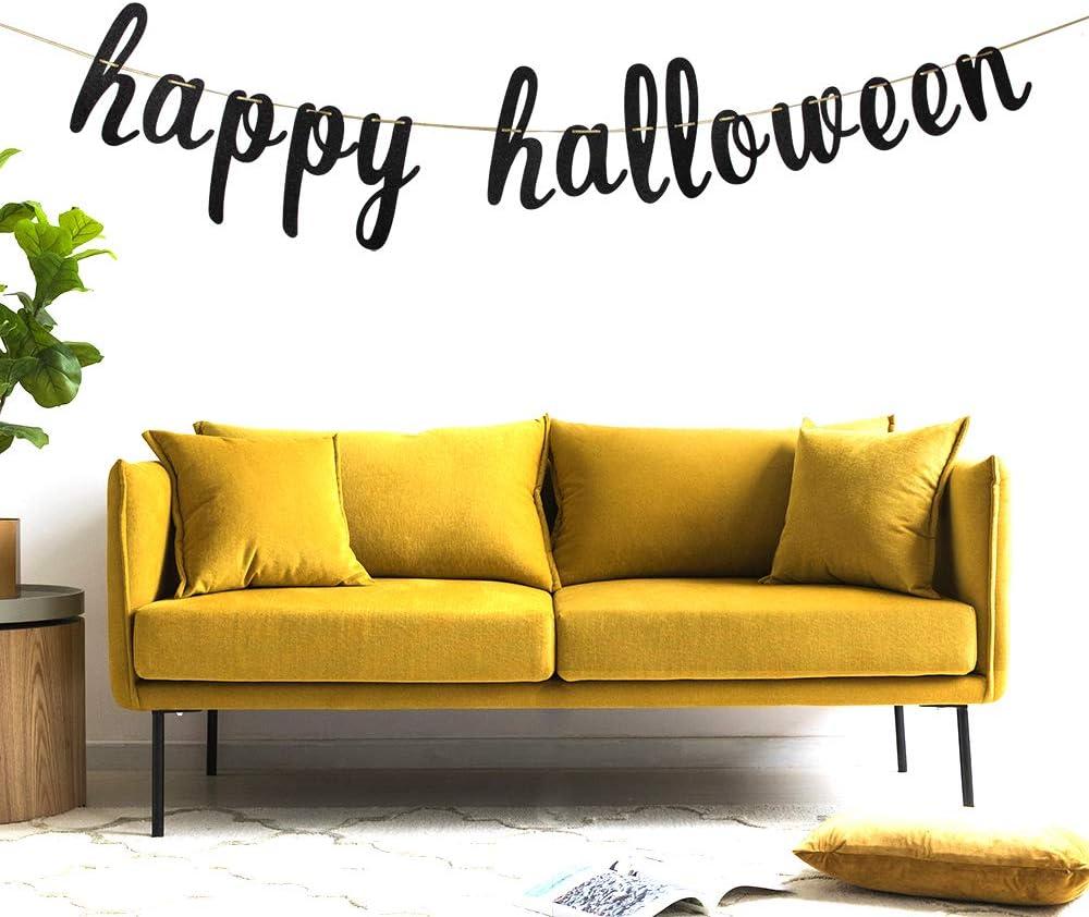 WeBenison Happy Halloween Banner Home Banner Pumpkin Banner Holiday Scary Party Decoration Supplies Black Glitter