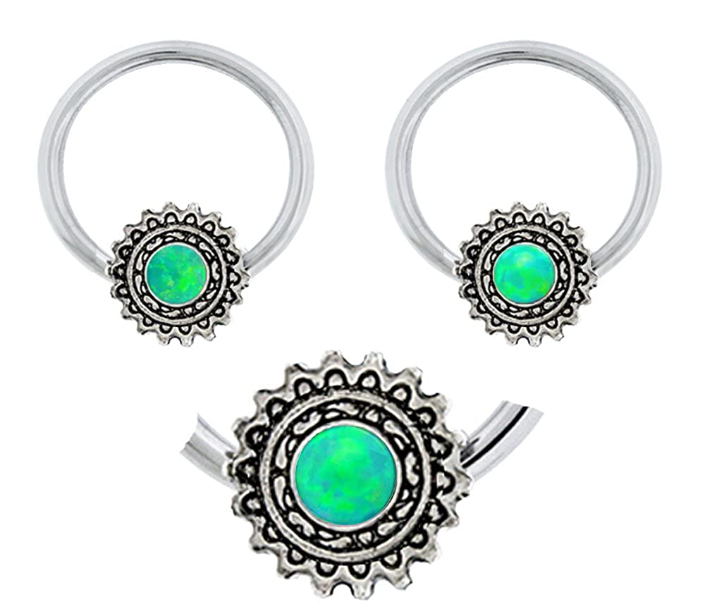 tragus cartilage septum Pair of Synthetic Green fire Opal Steampunk wheel steam punk Captive Ring lip 14g nose nipple earring body Jewelry piercing hoop belly