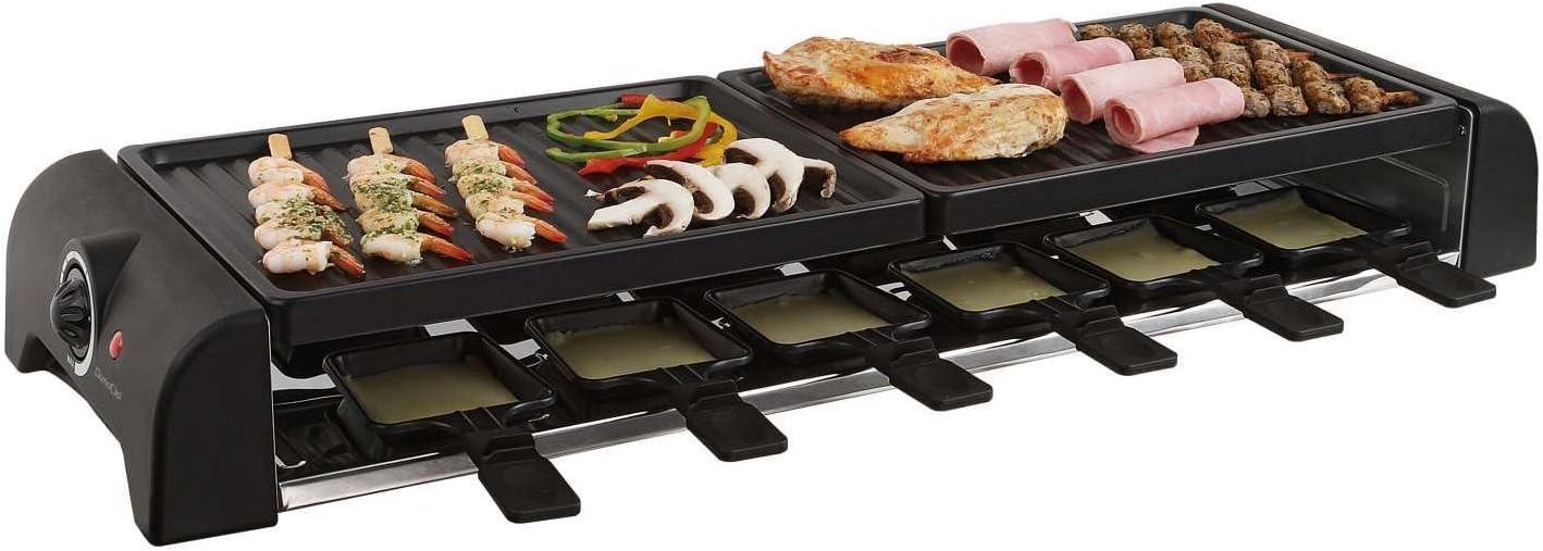 Parrilla eléctrica de mesa, gran superficie de parrilla para raclette para 12 personas (12 sartenes, 1800 W, revestimiento antiadherente, gran parrilla)
