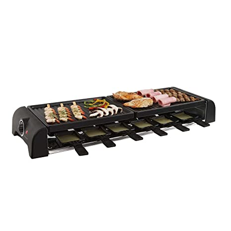 Gran mesa de raclette parrilla parrilla eléctrica para 12 personas 2 placas de barbacoa (12