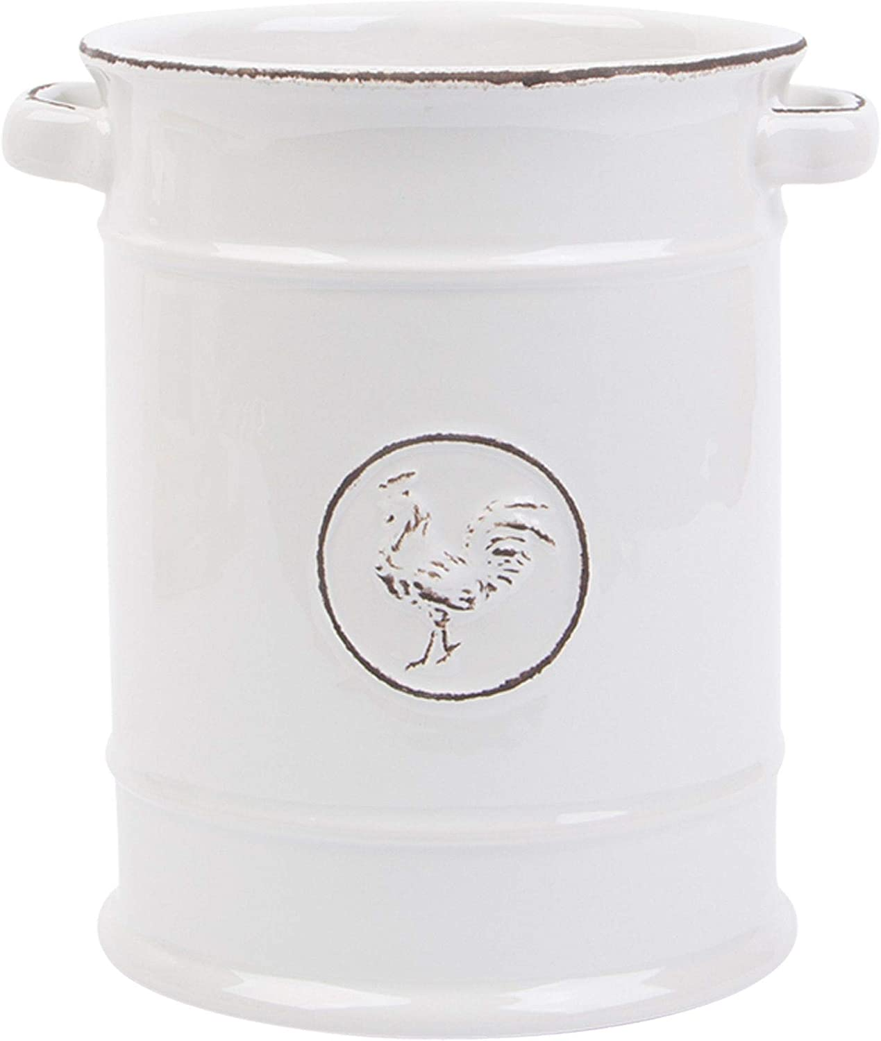 Light Grey Ceramic Two Handle Utensil Holder Crock with Embossed Rooster Logo, 7