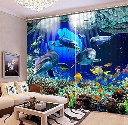 Wapel Die Unterwasserwelt Blackout 3D Vorhänge Druckvorhänge Für  Schlafzimmer Fenster Kinder Vorhang Hotel Vorhänge Drapiert H215