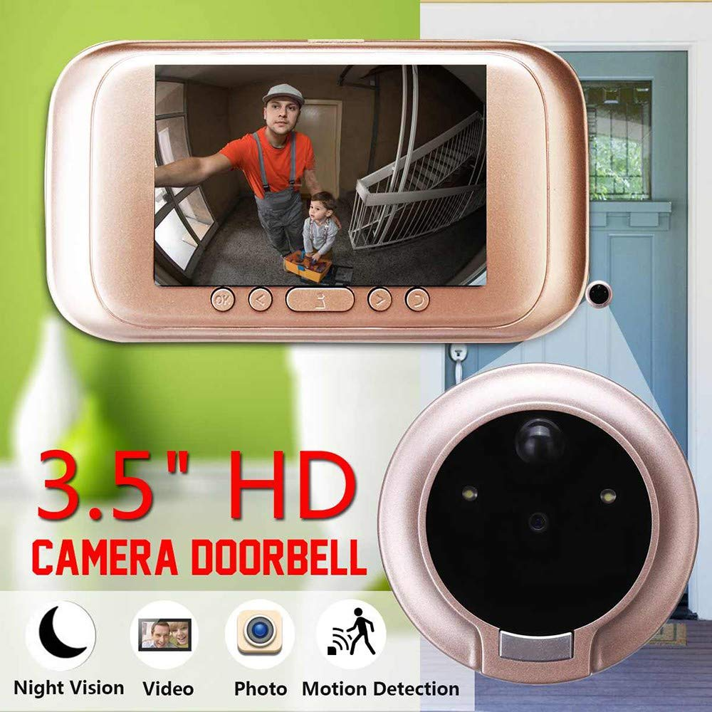 YLXD Video Doorbell, Wireless/WiFi Smart Home, 3.5 HD Electronic, M10 Camera Photo Video, Home Monitoring, Anti-Theft Alarm 720P, Night Vision, System Doorbell, 32G Record