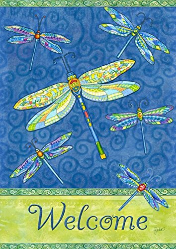 Dragonfly Flight Spring Garden Flag Welcome Dragonflies 12.5