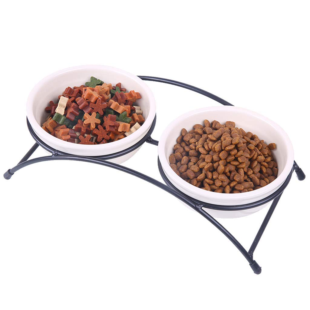 ANDRE HOME Ceramic Non-Slip Food Bowl Durable Iron Frame Double Bowl Pet Supplies