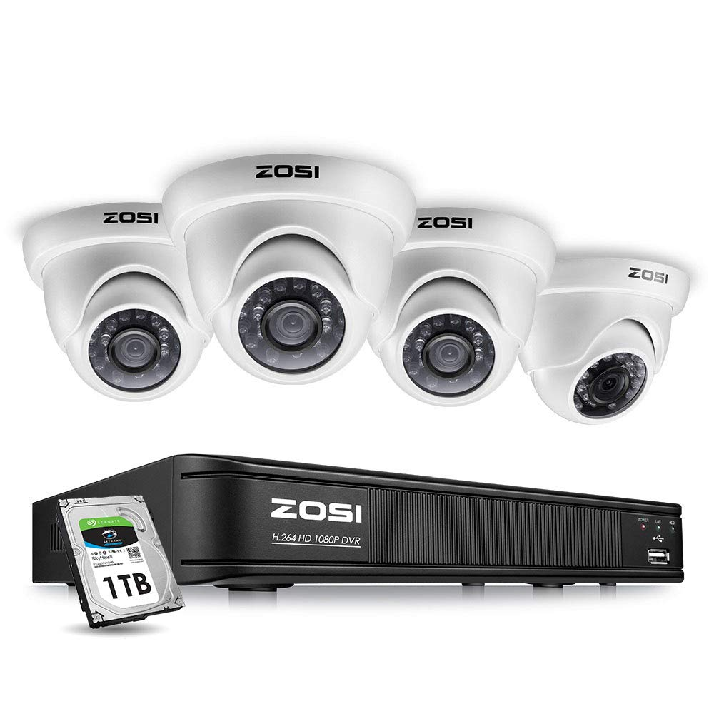 ZOSI 8 Channel HD-TVI 1080p CCTV Camera Security System,1080p 4-in-1  Surveillance DVR Recorder with 1TB HDD and (4) 2 0MP 1920TVL Outdoor/Indoor  Day
