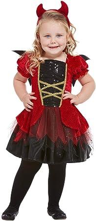 Smiffys 50794T1 - Disfraz de diablo para niña, color rojo, edad de 1 ...