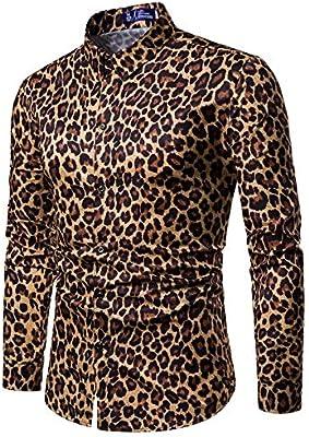 Flannel-Camisa De Manga Larga Para Los Hombres Sexy Leopard Print Shirt Discoteca De Moda Parte Prom Hombres Camiseta De Manga Larga Y Delgada Masculina Camisetas Hawaianas Para El Novio Padre Regalo: Amazon.es:
