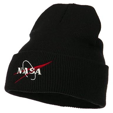 Amazon.com  NASA Logo Embroidered Long Knit Beanie - Black OSFM ... 70b7cd75ba2