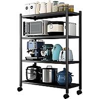Kitchen Storage Shelf: 4 Tier Adjustable Rolling Shelving Unit Mobile Kitchen Rack Shelves Storage Trolley Organizer…