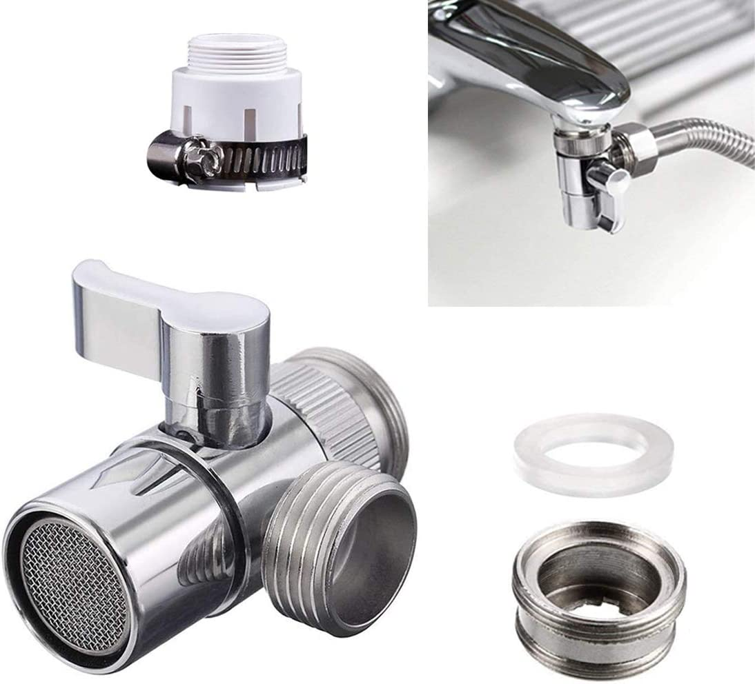 Brass Sink Valve Diverter Faucet Splitter For Kitchen,Handheld Showerhead or Bathroom Sink Faucet to Hose Adapter With Universal Faucet Adaptor Splitter Part M22 X M24, Polished Chrome