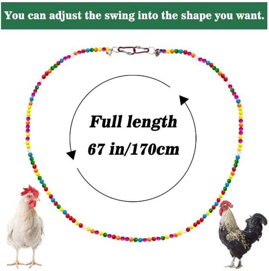 Natural Wooden Colored Beads Rope Chicken Toy For Large Bird Parrot Hens Macaw Training Chicken Swing Toy futurepast Chicken Swing Chicken Hanging Swings Toys