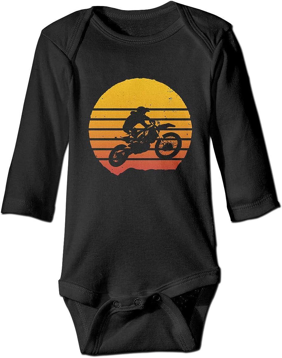 LOSPANA Vintage Dirt Bike Motocross Long Sleeve Romper Onesie Bodysuit for Baby Boys Girls