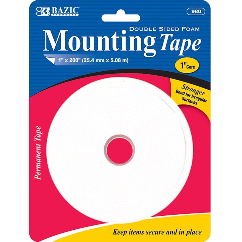 Bazic 1'' X 200'' Double Sided Foam Mounting Tape