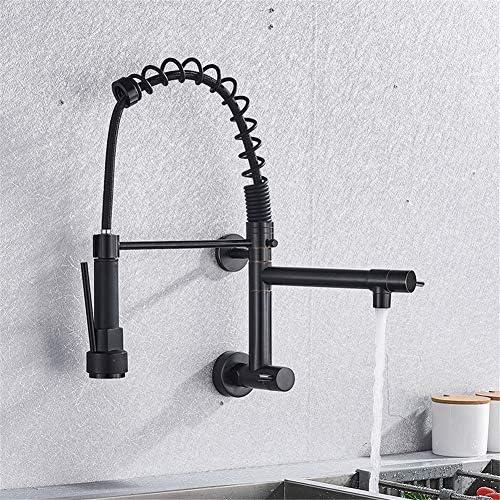 黒くされた壁に取り付けられた台所ばねのコックの二重口360の回転単一の冷たい台所ミキサータップ