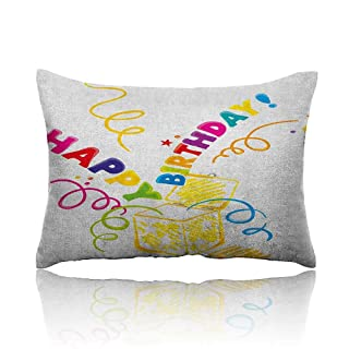 Anyangeight Birthday Cars Pillowcase Surprise in a Box Theme Doodle Style Cheerful Spirals Confetti and Stars Happiness Youth Pillowcase 20'x26' Multicolor