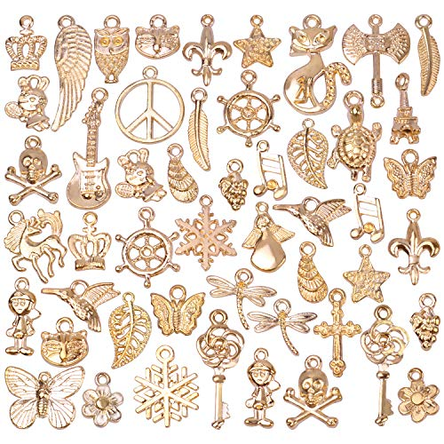 Gold Charms For Charm Bracelets - BronaGrand 50 Pieces Mixed Bracelet Charms Antique Necklace Pendants Bulk Pack for Craft and Jewelry Making,Rose Gold